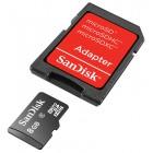 Карта памяти microSDHC SanDisk + переходник на SD, класс 4, 8 Гб